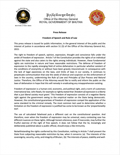 Official Press Release on the Freedom of Speech and the Rule of Law