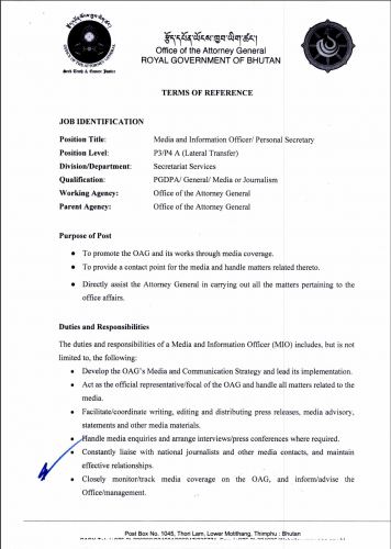 Vacancy Announcement for the post of PS/Media Officer